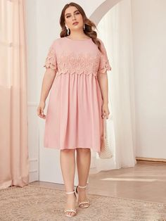To find out about the Plus Solid Guipure Lace Appliques Dress at SHEIN, part of our latest Plus Size Dresses ready to shop online today! Dress Plus Size, Plus Size Outfits, Vestidos Color Pastel, Curvy Fashion, Plus Size Fashion, Women's Fashion Dresses, Casual Dresses, Lace Dresses, Occasion Maxi Dresses