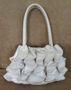 Sondra Roberts Ruffle shoulder bag off white womens purse handbag wedding #SondraRoberts #EveningBag