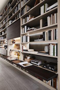 94 Amazing Bookshelf Design Ideas - Essential Furniture In Your Home Freestanding Double Sided Poplar Bookcase Manufacturer Italian Interior Design, Luxury Homes Interior, Home Interior, Interior Architecture, Interior Decorating, Home Library Design, House Design, Casa Patio, Bookshelf Design
