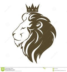 Lion head with crown logo Illustration , Lion Hand Tattoo, Tribal Lion Tattoo, Lion Profile, Lion Sketch, Knight Logo, Lion Drawing, Crown Logo, Tanjore Painting, Lion Art