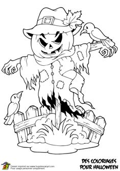 Illustration of Coloring book Halloween character illustration. vector art, clipart and stock vectors. Fall Coloring Pages, Adult Coloring Pages, Coloring Books, Halloween Scarecrow, Pretty Halloween, Diy Halloween Decorations, Halloween Crafts, Halloween Puzzles, Halloween Coloring Sheets