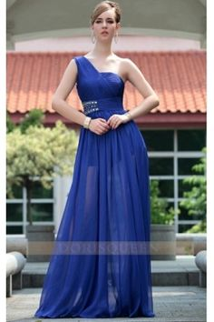 Tencel chiffon floor-length one shoulder