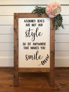 Assigned Seats are Not Our Style, No Seating Plan, Wedding Seating Sign I. - Assigned Seats are Not Our Style, No Seating Plan, Wedding Seating Sign I… – Wedding decorations - Wedding Seating Signs, Diy Wedding Signs, Diy Wedding Decorations, Outdoor Wedding Seating, Wedding Sign In Ideas, Diy Signs, Wedding Planning Quotes, Awesome Wedding Ideas, Classy Wedding Ideas
