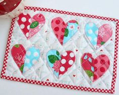 You have to see Valentine Half-Hearted Mug Rug by The Patchsmith!