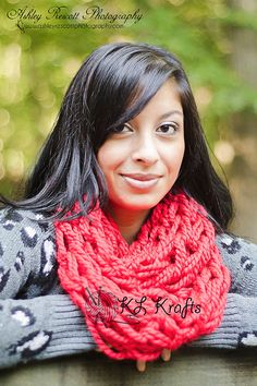 True Red Chunky Arm Knit Infinity Scarf Arm Knitted by KimLKrafts