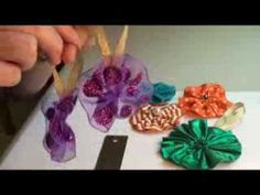 Here is a very quick and easy project showing you how to make ribbon flower Christmas ornaments.