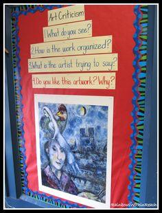 art room bulletin board ideas | Art Criticism Bulletin Board in the Art Room via RainbowsWithinReach