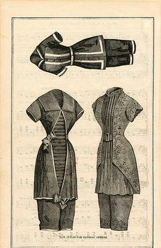New Styles for Bathing Dresses (~1860s)