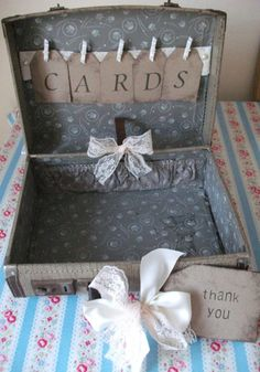Vintage Suitcase Wedding Cards Decorated Ready For Use Handmade Tags Shabby Chic   eBay    http://www.ebay.co.uk/itm/Vintage-Suitcase-Wedding-Cards-Decorated-Ready-For-Use-Handmade-Tags-Shabby-Chic-/160878951898?pt=UK_Home_Garden_Celebrations_Occasions_ET=item257521fdda#   £40
