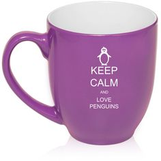 16 Oz Large Bistro Mug Ceramic Coffee Tea Mug Glass Keep Calm and Love... ($15) ❤ liked on Polyvore featuring home, kitchen & dining, drinkware, blue, drink & barware, home & living, mugs, ceramic tea mug, coffee tea mugs and pink coffee mug