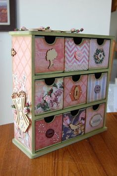 altered kaisercraft drawers by Ginny Decoupage Furniture, Decoupage Box, Cardboard Furniture, Upcycled Furniture, Painted Furniture, Diy Craft Projects, Wood Projects, Wood Crafts, Diy And Crafts