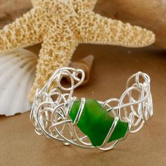 XCAM-CB7-SG-SP Scribble Sea Glass Cuff | Sadie Green's - Sea Glass Jewelry - Vintage Reproduction Jewelry - Costume Jewelry - Pashmina Scarves