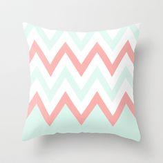 Mint & Coral Chevron (3) Throw Pillow by daniellebourland - $20.00