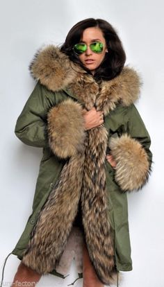 Soft Pink Fur Collar Hood Parka Army Green Jacket | Fur collars ...