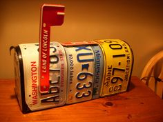 Recycled license plate mailbox by CraftyPlates on Etsy, $85.00