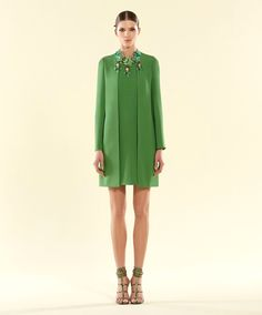Neu Echt Gucci Grün Seidenkleid Mit/Ausschnitt Detail, 36, 319124   eBay