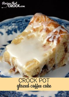 Do you love coffee cake? Then youslow cooker will want to check out this Crock Pot Glazed Coffee Cake! It is a cinch to throw together and amazingly delicious! Crock Pot Desserts, Slow Cooker Desserts, Slow Cooker Recipes, Crockpot Recipes, Crockpot Dishes, Camping Recipes, Steak Recipes, Easy Desserts, Soup Recipes