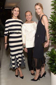 Vanessa Traina Snow in Calvin Klein Collection R16 (Look 3), Samantha Traina in Céline PF15 (Look 7), and their mom Danielle Steel
