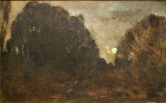 """Charles-François Daubigny -  """"Rising Moon in Barbizon"""", XIX th century, oil on canvas, current location: Museum of Fine Arts in Ghent."""