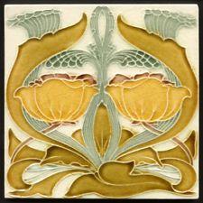 TH2777 Unusual Antique Art Nouveau Arts & Crafts Style Majolica Tile T A Simpson