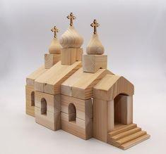 Wooden Blocks Toys, Wood Blocks, Wooden Boxes, Baby Building Blocks, Red Cedar Wood, Church Building, Wood Species, Solid Wood, Etsy