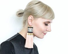 Extra long earrings,beaded earrings,woven earrings, ethnic pattern earrings,beaded earrings, seed bead earrings,long ethnic earrings,boho