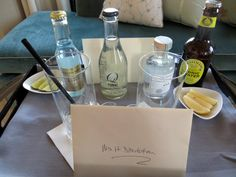 Gin Tonic Welcome Amenity, Mandarin Oriental San Francisco Luxury Concierge Services, Hotel Concierge, Where To Buy Bedding, Bar Cart Styling, Hotel Amenities, Mandarin Oriental, Suites, Gin And Tonic, Hotel Reviews