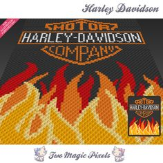 Harley Davidson is a graph pattern that can be used to crochet a children blanket using C2C (Corner to Corner), TSS (Tunisian Simple Stitch) and other techniques. Alternatively, you can use this graph for knitting, cross stitching and other crafts. This graph design is 80 squares wide by 100 squares high. It requires 6 colors. Pattern PDF includes: - color illustration for reference - color squares pattern Images only. There are NO written counts or step-by-step instructions. This list...