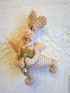 Купить Зайка сердечный, текстильная игрушка, сувенир - кремовый, текстильная игрушка, текстильный заяц