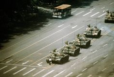 Tanks rolling into China's Tiananmen Square (Beijing). This came as a result of student pro-democracy protests in 1989.