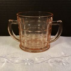 Anchor Hocking Pink Depression Glass Block by ShellysSelectSalvage