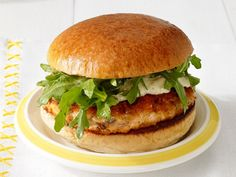 Perfect Salmon Burgers Recipe : Food network I've made these a ton lately. I didn't even like salmon! Best Burger Recipe, Burger Recipes, Salmon Recipes, Fish Recipes, Seafood Recipes, Dog Recipes, Recipies, Fish Dishes, Seafood Dishes