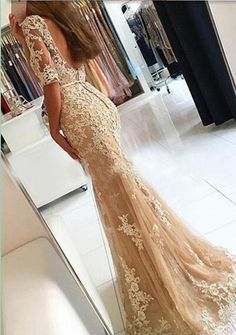 Charming Lace Prom Dresses, Mermaid Appliques Prom Dress,Long Prom Dresses,Sexy Prom Dresses,Elegant Lace Evening Dress, Formal Women Dress