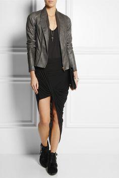 Helmut Lang|Asymmetric draped jersey skirt|NET-A-PORTER.COM