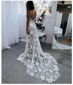 2018 Boho Wedding Dress, V-neck  Lace Wedding Dress, Long Wedding Dresses Bridal Dress