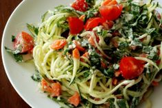 Food: Eleven Ace Raw Food Recipes  (via Raw Alfredo Sauce with Basil, Cherry Tomatoes and Zucchini Noodles!)