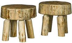These exquisite rustic log sitting stools are perfect for indoor or patio use. Made of very sturdy solid pine that has a natural look. They are coated in a clear lacquer or honey finish for protection and years of enjoyment. Rustic Stools, Bar Stools, Cabin Furniture, Rustic Furniture, Mexican Furniture, Chair Bench, Solid Pine, Furniture Collection, Online Furniture