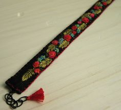 Boho Floral Embroidered Cuff Bracelet by Sidereal on Etsy
