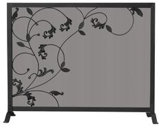 3 FOLD BLACK SCREEN WITH FLOWING LEAF DESIGN  S-1043