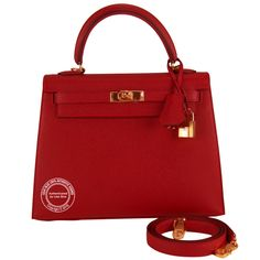 80b63848b61e 25cm Rouge Casaque Kelly Epsom with Gold Hermes Constance