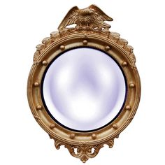 Hickory Manor House Regency Eagle Convex Mirror in Gold Leaf