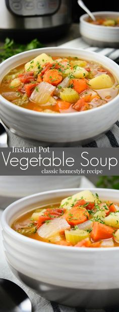 Instant Pot Vegetable Soup is a classic homestyle recipe made with simple ingredients. Its super easy to bring together making it an ideal weeknight dinner. This healthy & flavorful chunky vegetable soup is vegan vegetarian gluten free and allergy frie Chunky Vegetable Soup, Vegan Vegetable Soup, Vegan Soups, Vegan Vegetarian, Easy Vegan Soup, Pressure Cooker Vegetable Soup, Crockpot Vegetable Soup, Vegetable Soup Ingredients, Winter Vegetable Soup