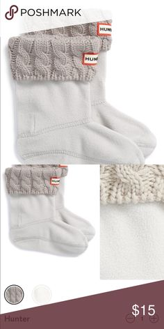 NWT Hunter Cable Knit Cuff Welly Boot Socks Brand new sweater-knit cuffs top soft fleece socks designed to add comfort & warmth to rain boots.   Size Large (fits big kids size 1-3 boots) Color Greige Hunter Boots Shoes Rain & Snow Boots