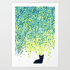 Buy Cat in the garden under willow tree Art Print by Picomodi. Worldwide shipping available at Society6.com. Just one of millions of high quality products available.