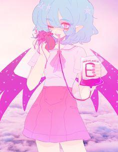 Anime. Anime Girl. Pastel. pastel Goth. Dress. Skirt. Blood. Gore. Heart. Short Blue Hair. Wings. Stars. Guro.