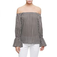 """- """"Call it wishful thinking, but with the slightly warmer temperatures as of late, I'm getting ready to bust out the spring wardrobe. This gingham blouse will look adorable paired with cropped white trousers and a block-heel on days when it's not too chilly in NYC.""""—Samantha McDonald, NewsEditorSanctuary Clothing Charlotte Off-Shoulder Top, $79"""