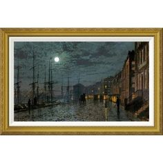 """Global Gallery 'City Docks By Moonlight' by John Atkinson Grimshaw Framed Painting Print Size: 23.88"""" H x 36"""" W x 1.5"""" D"""