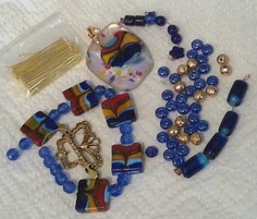 This is the beautiful blue bead soup from my partner Sandra Richardson! I am busy working on my designs!