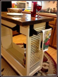 shutters re-purposed to kitchen Island