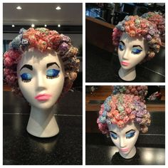 Cute little styrofoam head with lollipops inserted to look like hair and/or a set. Home Hair Salons, Home Salon, Beauty Salon Decor, Beauty Bar, Cosmetology Graduation, Salon Party, Styrofoam Head, Mannequin Art, Wig Party